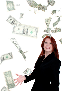 Woman with Money Raining